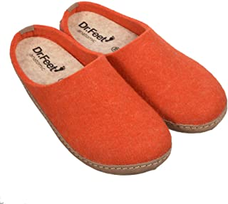 DR.FEET Unisex Natural Wool Felt Open Back Leather Sole Indoor Slipper