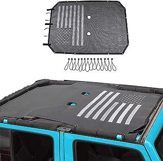 TOAPCAYR Unlimited Sunshade JK JKU Jeep Wrangler Mesh Bikini Top Cover 2007-2017 4-Door UV-Protection in Black and White American Flag