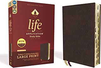 NIV, Life Application Study Bible, Third Edition, Large Print, Bonded Leather, Burgundy, Red Letter Edition, Thumb Indexed