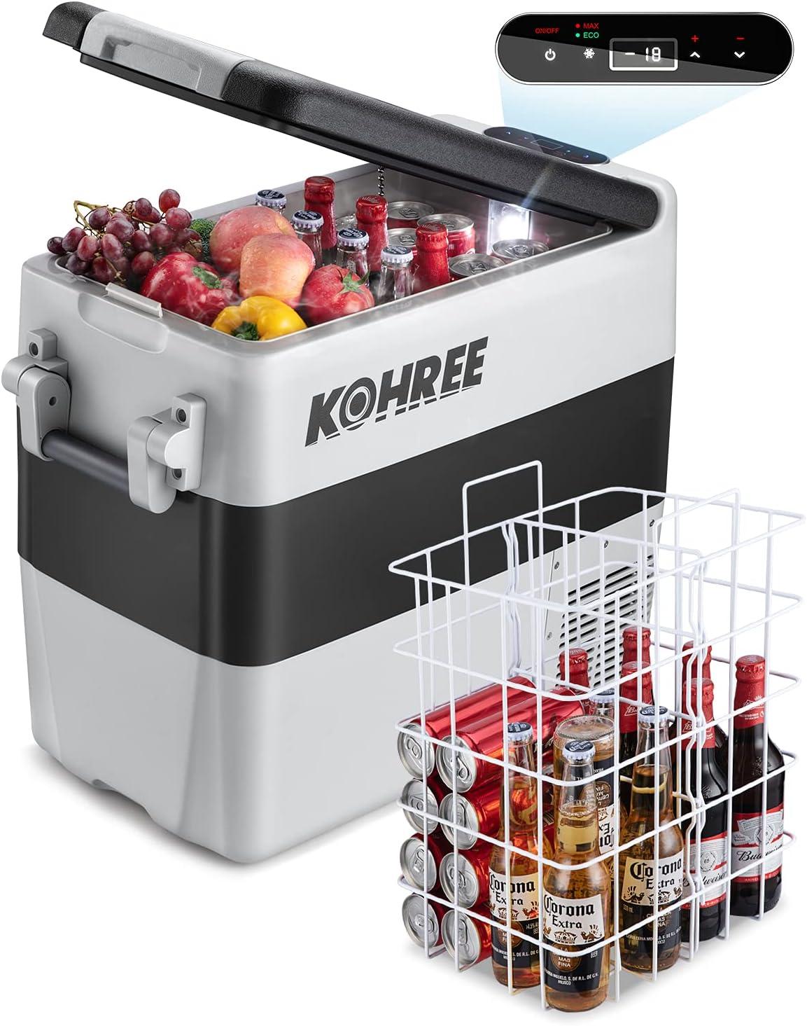 Kohree 12 Volt Refrigerator Portable Car fridge 53 Quart (50L) Dual Zone Fast Cooling Freezer (-4℉-50℉), Travel Electric Coolers for Truck, Vehicles, RV, Camping, Boat and Household-12V/24V DC and 110V/240V AC: Automotive