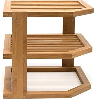 3 tier bamboo corner shelf
