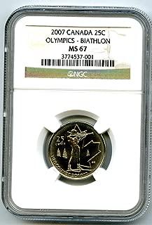 2007 Canada 2010 Vancouver Olympics Biathlon 25c Quarter Rare TOP POPULATION=1 Quarter MS67 NGC