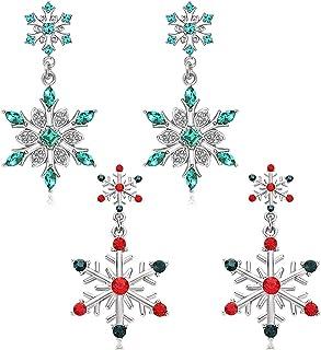 2 Pairs Christmas Snowflake Earrings for Women Girls Winter Holiday Silver Snowflake Drop Dangle Earrings Festive Jewelry ...