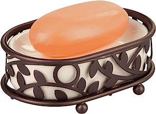 "iDesign Vine Soap Saver, Bar Holder Tray for Bathroom Counter, Shower, Kitchen, 5.5"" x 3.45"" x 2"", Vanilla and Bronze"