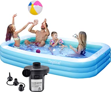 "Toysical Inflatable Pool with Air Pump - 118 x 72 x 22"" Above Ground Pool, Swimming Pools for Kids and Adults and The Entire"