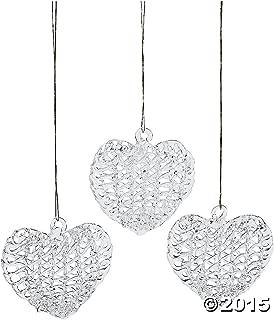 12 Glass Puffed Spun Heart Christmas Valentine Ornaments