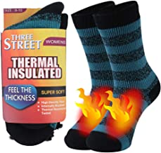 Warm Thermal Socks, Three street Unisex Winter Fur Lined Boot Thick Insulated Heated Socks For Cold Weather