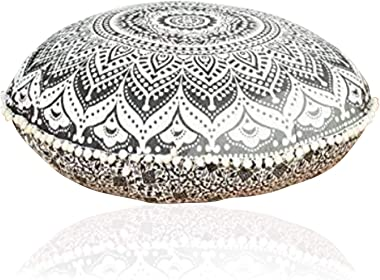 Rajasthaniartdecor Round Pouf Cover Cushion Cover Cotton with Pom Pom Pouf Cover Meditetion Seating for Living Dorm Room Size