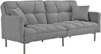 Amazon.com: Meridian Furniture 609Grey-S Lucas Button Tufted ...