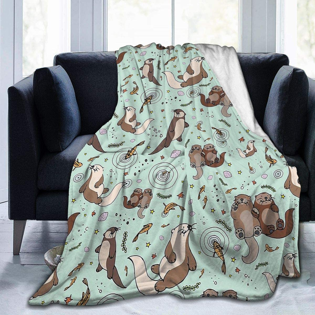 outlet Spring new work Guo Qiao Gmamasim Home Sea Otter Blanket Flannel Fl Throw Print