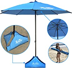 Xbrellas -High Wind Resistant Beach Umbrella – Sand Base - 7.5' Round – Patent Pending