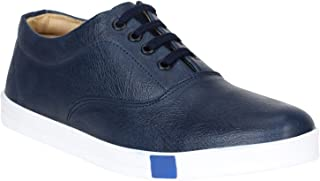 Emosis Men's Sneakers - Synthetic Leather Lace-Up Casual Shoe - for Formal Office Daily Use - Available in Tan Black Brown Colour - 0306M