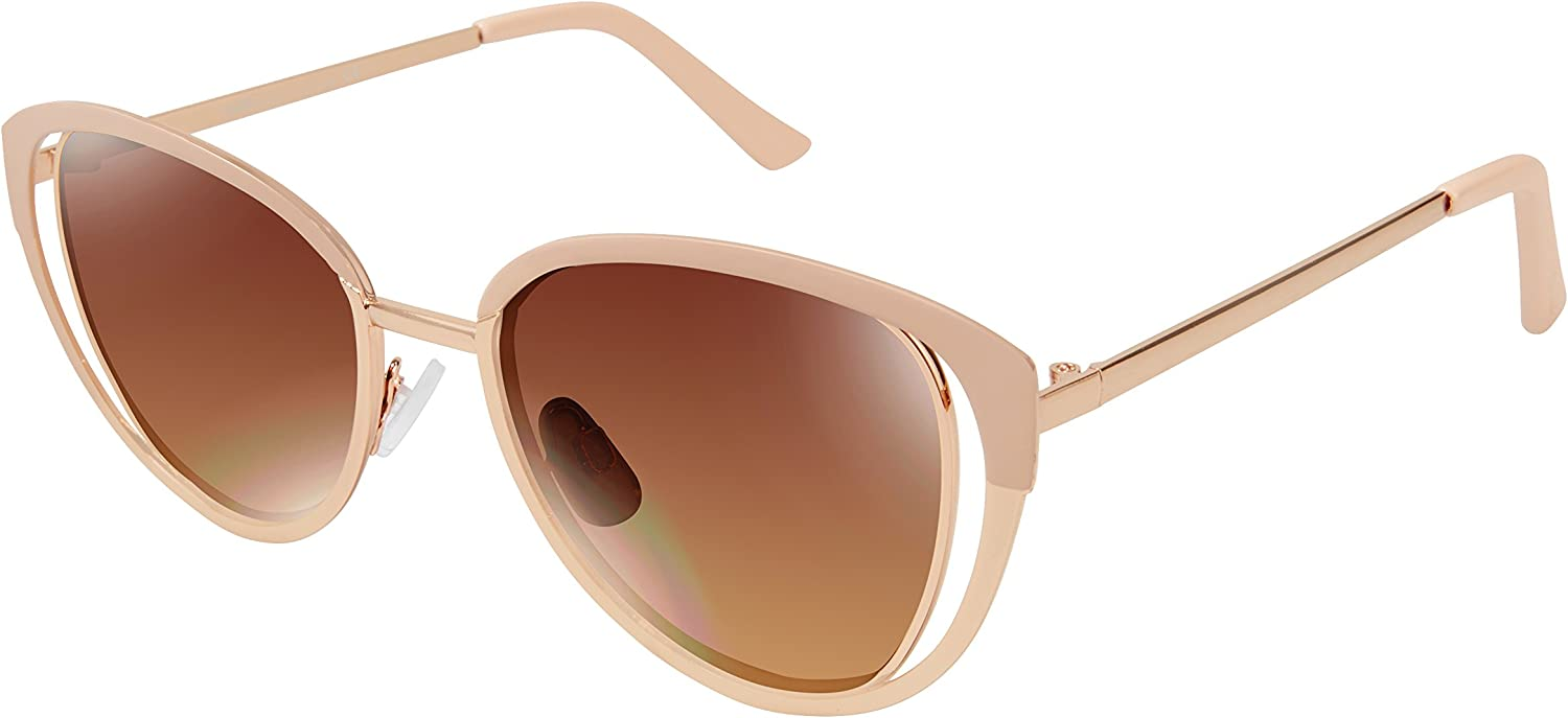 Nanette by Nanette Lepore Women's Nn188 Rgdnd Cateye Sunglasses, pink gold Nude, 53 mm
