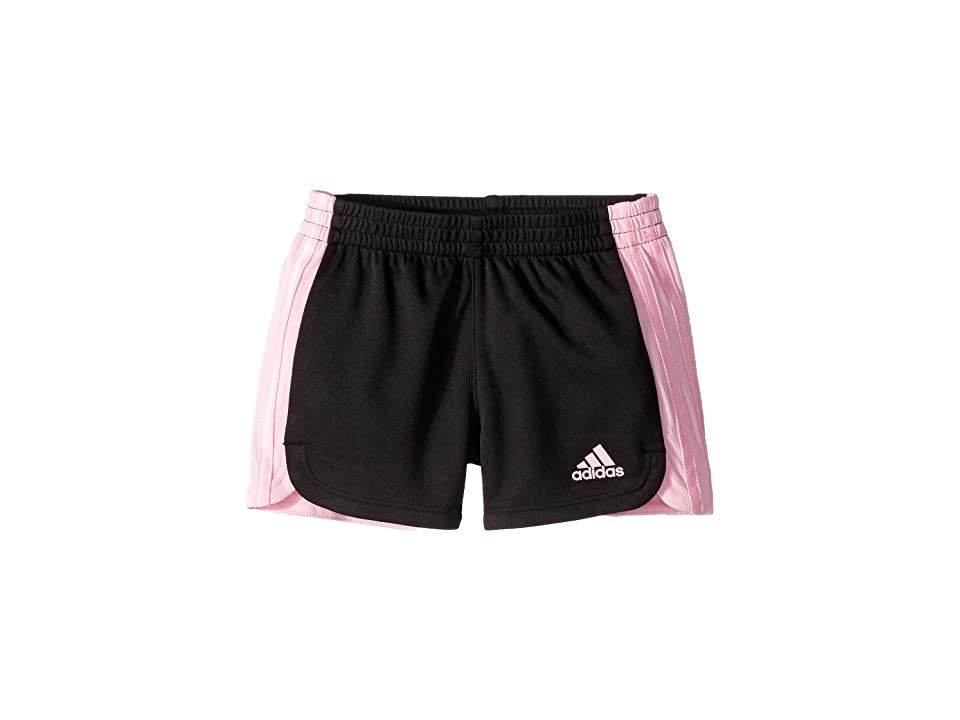 Image of adidas Kids 3 Stripe Blocked Shorts (Toddler/Little Kids) (Black/Light Pink) Girl's Shorts