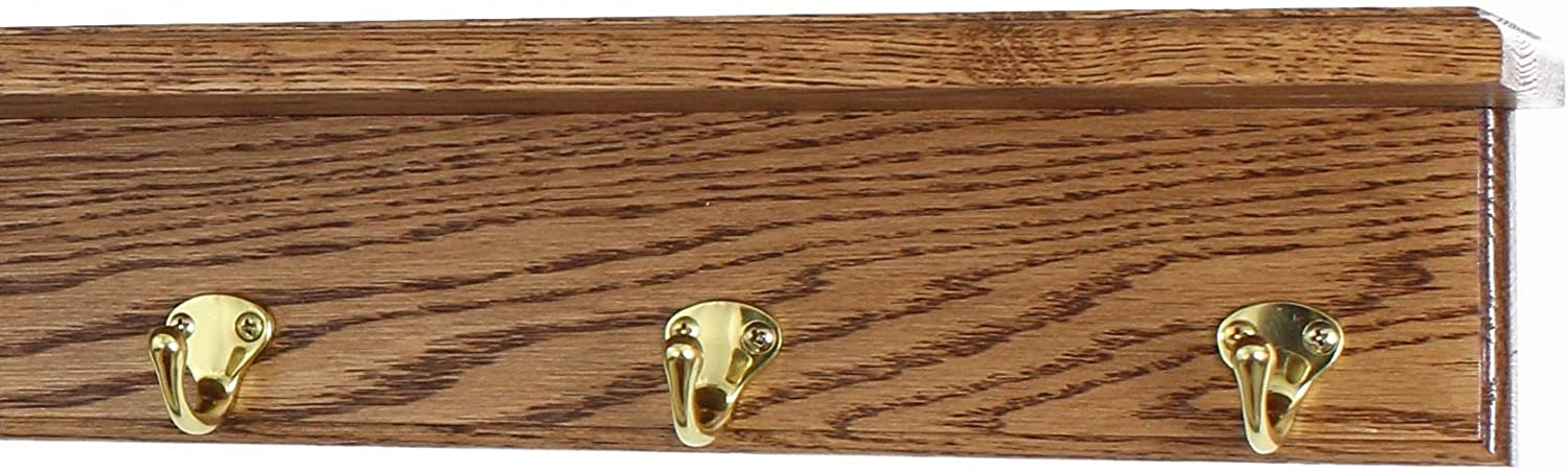 Los Angeles Mall PegandRail Oak Shelf Coat Rack with Style Hoo Solid Single Popular product Brass