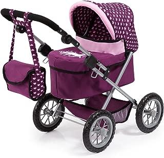 Bayer Design 13037AA Dolls Pram Trendy with Shoulder Bag and Underneath Shopping Basket, Purple/Pink, 46 cm