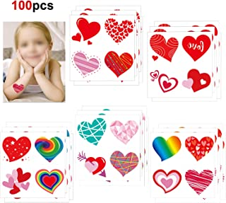 Valentines Heart Tattoos(100PCS),Konsait Valentine's Day Temporary Tattoos Red Heart Tattoos for Kids Girls Boys Valentine's Day Party Favor Supplies Kids School Gifts Goody Bag Filler Teachers Prizes