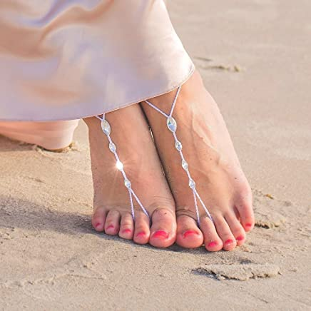 36d44740f Simple Barefoot Sandals with Swarovski Crystals for Women