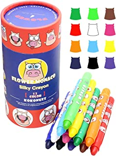 Lebze 12 Colors Toddlers Crayons - Non Toxic Crayons Silky Washable Baby Crayon - Safe for Infant, Kids and Children Flower Monaco