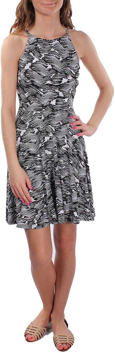 Bar III Women's Sleeveless WavePrint Casual Dress