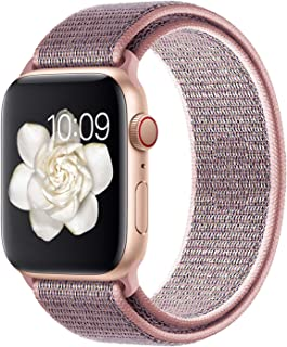 Misker Compatible with for Apple Watch Band 38mm 40mm 42mm 44mm Soft Lightweight Breathable Sport Replacement Band for Watch Series 5 4 3 2 1 (Pink Sand, 42mm/44mm)