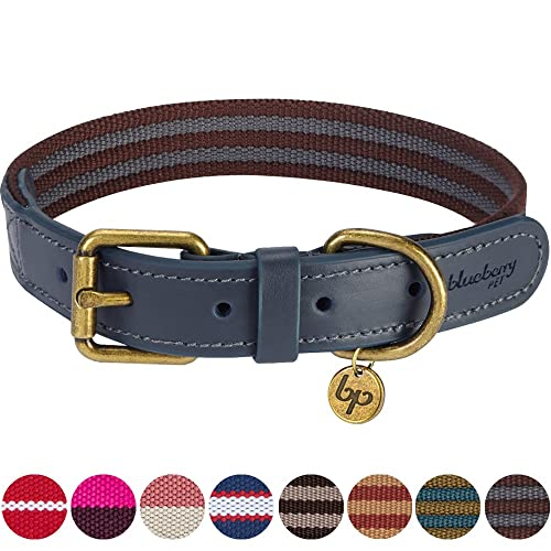 8577c3ebe0951c Blueberry Pet Polyester Fabric Webbing and Soft Genuine Leather Dog Collar  in Noir Grey and Burgundy