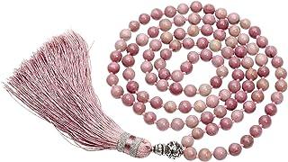 QGEM - Pulsera de 108 cuentas con múltiples turnas/mala tibetana buda, grano de rosario, collar largo budista 'Om Mani Pad...