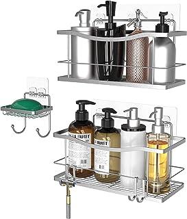 Vdomus 浴室ラック バスルームラック お風呂ラック ステンレス キッチン用ラック バス用品 収納ラック 高級感溢れ 強力粘着固定 水切り 3セット