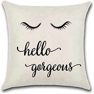 Qinqingo Hello Gorgeous Quote Words Throw Pillow Cover Cushion Case Cotton Linen Sofa Car Home Decorative 18