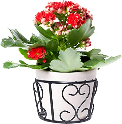 SV Export Iron Heart Design Hanging Baskets Flower Pot Plant Stand Holder Without Pots for Railing Fence Balcony Garden Home Indoor Outdoor (Set of 5) Combo (10 Pieces)