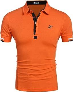 Hotouch Mens Fashion Polo Shirt Short Sleeve Polo Tee Casual Slim Fit Basic Golf Tee Sport Polo T-Shirts