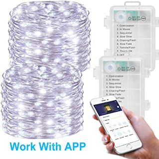MINGER Fairy Lights, Battery Operated Led Fairy String Lights with APP, 16.4ft (50 LED 8 Modes) Waterproof String Lights, Copper Wire Firefly Lights for Indoor Christmas Hoilday Patio Decoration