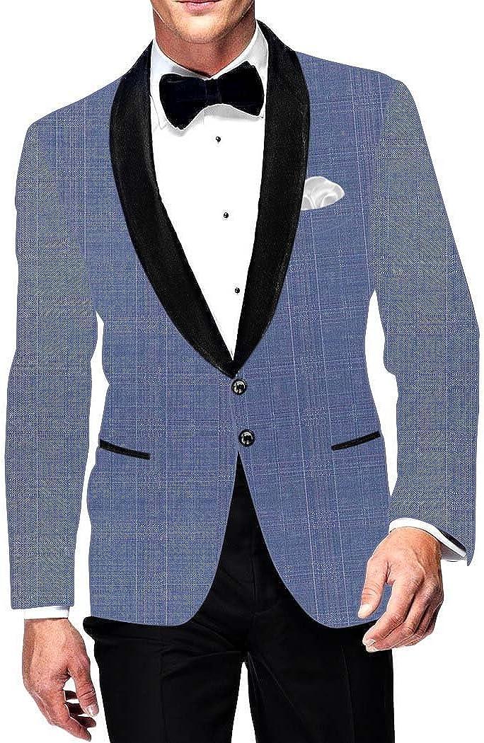 INMONARCH Mens Slim fit Casual Sky Blue Blazer Sport Jacket Coat Two Button Partywear SB15845