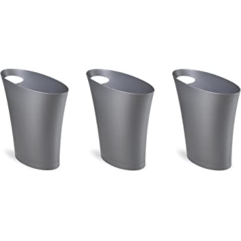 Amazon Com Umbra Skinny Sleek Stylish Bathroom Trash Small Garbage Can Wastebasket For Narrow Spaces At Home Or Office 2 Gallon Capacity Silver 3 Pack Home Kitchen