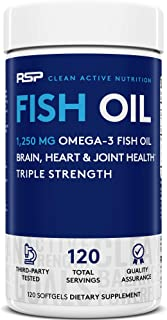 RSP Fish Oil Supplement - Triple Strength Omega 3 Softgels (1250 mg), HIGH EPA & DHA for Heart, Brain, Joint Health, 3X St...