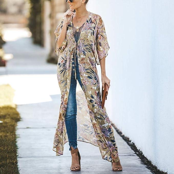 DEELIN Kimono Mujer Estampado Floral Chiffon Kimono Largo ...