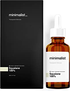 Minimalist Squalane 100% (Plant Derived) Super-Lightweight Face Oil, 30ml - Improves Skin Hydration & Helps Reduce the App...