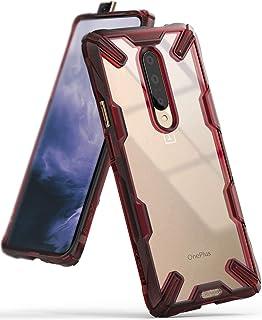 جراب شفاف من رينجكي مقاوم للصدمات لهاتف ون بلس 7 برو - احمر وشفاف