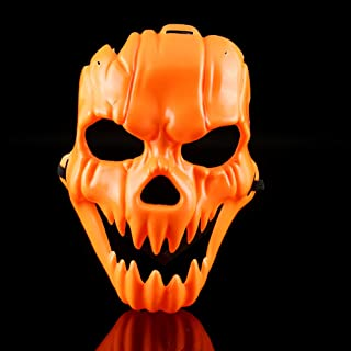 NOMSOCR Halloween Mask, Horror Mask Scary Devil Face Prank Pumpkin Skull Plastic Mask for Adults Kids (Yellow)