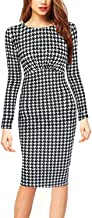 oxiuly Women's Vintage Long Sleeve Casual Work Corset Knee Length Slim Pencil Dress 1493