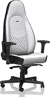 noblechairs Icon Silla de Gaming - Silla de Oficina - Silla de Escritorio - Reclinable a 135 ° - Cuero Sintético PU - 150 kg - Diseño de Asiento de Carreras - Blanco/Negro