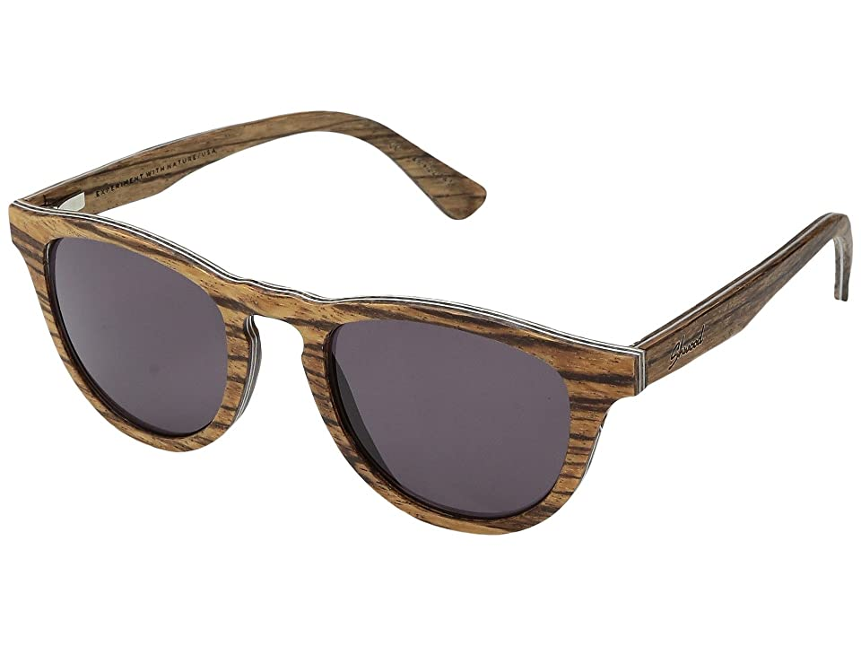 Shwood Francis Wood Sunglasses (Zebrawood/Grey) Athletic Performance Sport Sunglasses