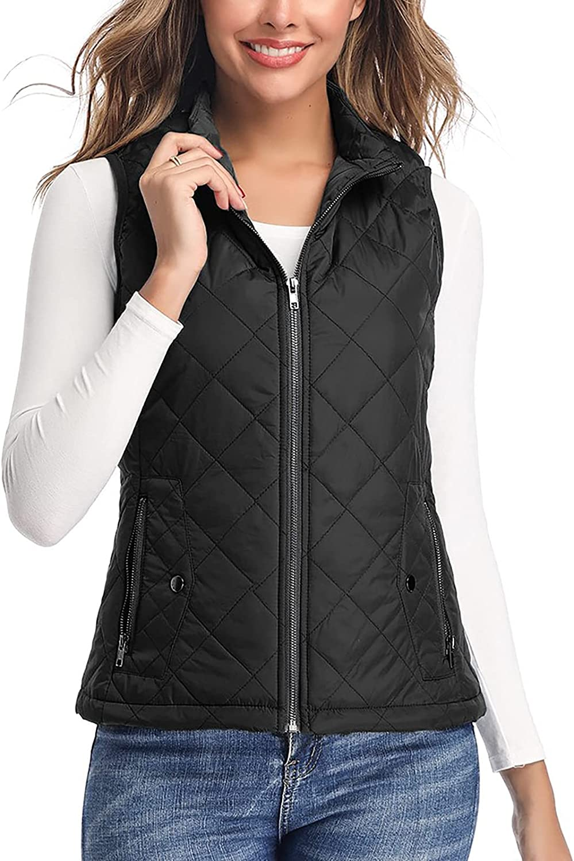 Women's Vest - Stand Collar Lightweight Zip Quilted Vest for Women