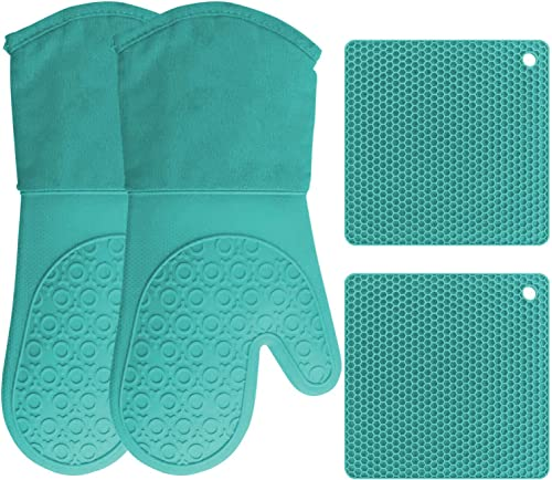 HOMWE-Silicone-Oven-Mitts-and-Pot-Holders,-4-Piece-Set,-Heavy-Duty-Cooking-Gloves