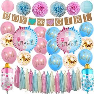 InBy 41pcs Boy or Girl Gender Reveal Baby Shower Party Decoration Supplies Kit - 'BOY or Girl' Banner, 12
