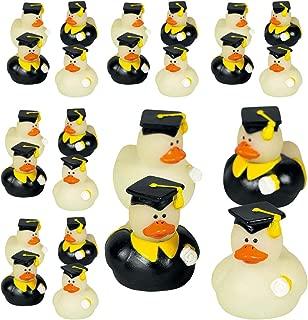 Kicko Glow in the Dark Rubber Duckies - Set of 24-1.75 Inch Mini Graduation Vinyl Duck - Perfect for Graduation Party in Kindergarten, Elementary, High School, College