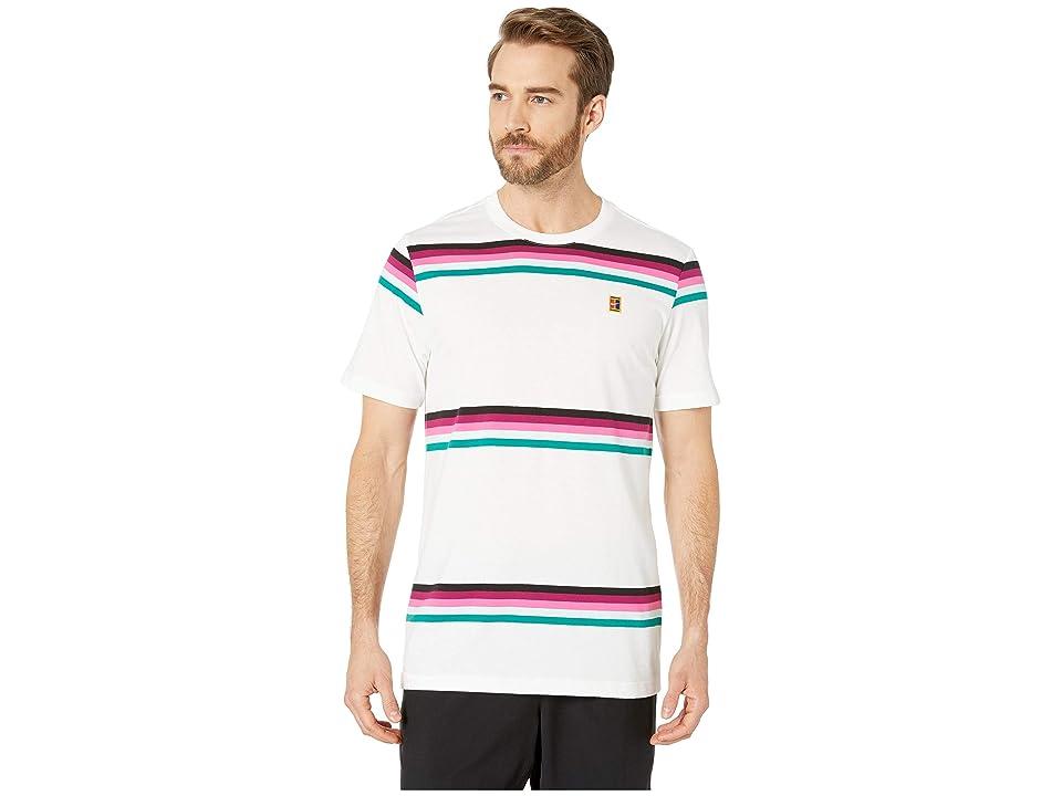 Nike NikeCourt T-Shirt Heritage Stripe (White/Multicolor) Men