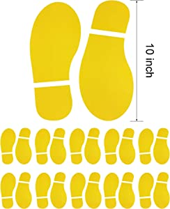 10 Pairs 20 Prints Yellow Adults Size Shoes Footprint Stickers Decals for Floor Wall Stairs to Guide Directions, 10 Inch