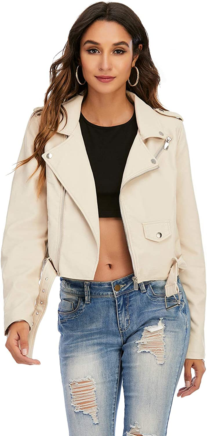 F/A&Benson Women's Faux Leather Moto Biker Jacket Casual Coat with Removable Hooded