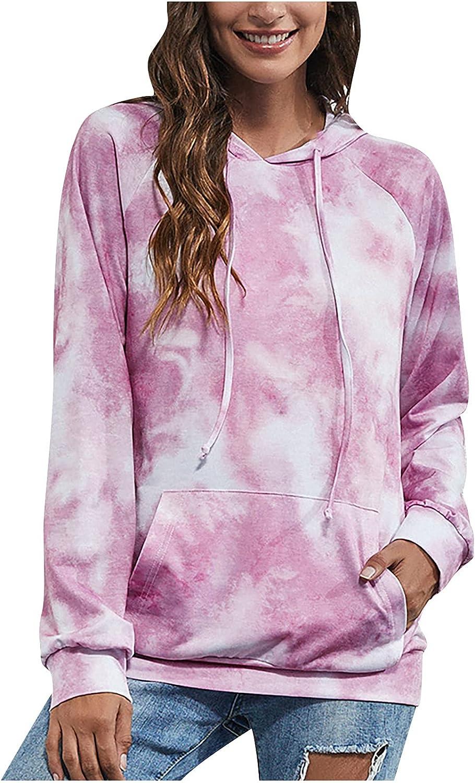 Womens Tie Dye Hoodie Long Sleeve Sweatshirt V-Neck Drawstring Pullover Plus Size Autumn Tops